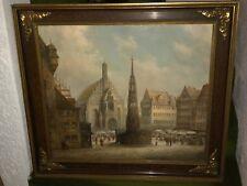 """Original Ölgemälde von H.J.Wolf, """"Goldener Brunnen Nürnberg, gerahmt, 88 x 97 cm"""
