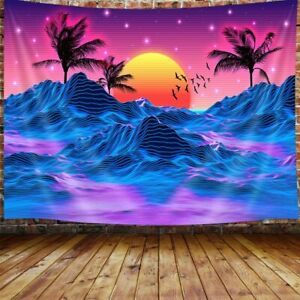 Retro Neon Trippy Tapestry, Cool Mountain Sun Room Decor Aesthetic Art Tapestry