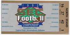 1992 SEC Football Championship Ticket  ALABAMA vs Florida ex++/nrmt and glossy