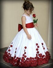 Red And White Bow Knot Rose Satin Ball Gown Wedding Flower Girl Dresses Crew