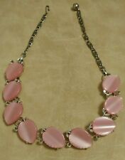 Vintage 1960's Lisner Signed Pink Thermoset Leaves Necklace Silver-toned Setting