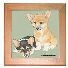 "Corgi Welsh Pembroke Dog Kitchen Ceramic Trivet Framed in Pine 8"" x 8"""