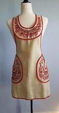 Women's Kitchen Apron  Embroidered   Adjustable Waist Pockets