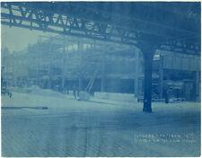 Photo Cyanotype Manhattan New York Ny Construction du Métro Subway Vers 1900