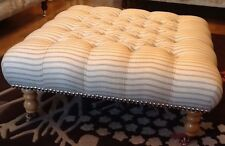 A Quality Large Deep Buttoned Footstool Laura Ashley Henley Seaspray Fabric