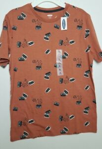Old Navy boys all over printed cassette t-shirt Sz XL 14/16 brown New! retro