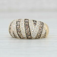 0.74ctw Champagne and White Diamond Ring 18k Yellow Gold Size 6