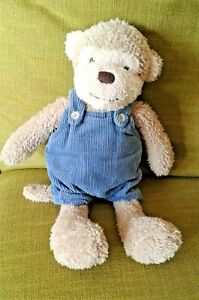 """M & S Cheeky Monkey in Teal Dungarees 8"""" Soft Toy Plush Beanie Comforter EXC"""