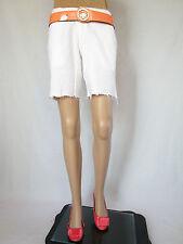 Womens Casual Party Linen Distress White Shorts sz 16 Custom Rework Cut off AQ99