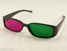 4 - Pair Green Magenta 3D Glasses for For Dimensional Anaglyph DVD Movie Game TV