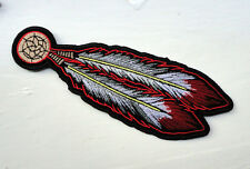P3c Native American Biker Iron on Patch Feathers Cowboy Motorcycle Indian Tribal