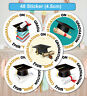48 Personalised Graduation University school Stickers Labels for Party Bag Seals