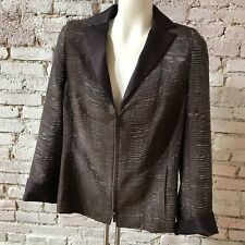 AKRIS   Tuxedo Wool Blazer Jacket Silk Lining Satin Detail Zip Front 44 10