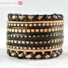 Leather Bracelet 2 Layers with Braided Rope Belt Bangle Wristband Cuff Man/Woman