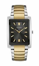 Bulova Men's 98A149 Classic Quartz Rectangle Case Black Dial Two-Tone 35mm Watch