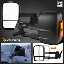 88-98 Chevy GMC C/K 1500 Tahoe LED Signal Manual Extend Towing Side Mirrors
