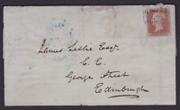 GB EARLY 1851 1d PENNY RED IMPERF STAMP COVER  TO EDINBURGH  (KE181)