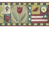 New listing Country Americana Flag, Apples, Tulips, Watermelon, Etc Wallpaper Border