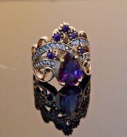 925 Sterling Silver Handmade Gemstone Turkish Amethyst Ladies Ring Size 7-9