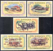 Barbados 1981 Trains/Steam/Railways/Rail/Horses/Tram/Cabs/Transport 5v (n40079)