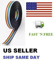 200 Feet Stranded Rainbow Flat Ribbon 10 Way Cable 10 pin 28AWG Pitch 1.27mm