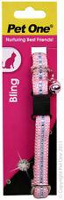 Pet One Collar Cat/Kitten Imitation Diamond Diamonte 12mm Pink - Aussie Seller