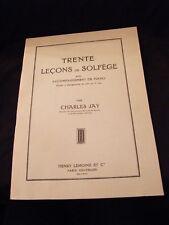 Partition Trente leçons de solfège Accompagnement de piano Charles Jay