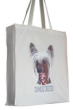More details for chinese crested breed of dog h shopping tote bag long handles perfect gift