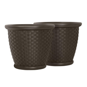 Planter Large Plant Garden Flower Pot Round Molded Resin Brown 22 Inch (2 Pack)