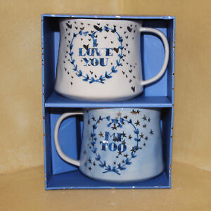 Anthropologie Home Townhouse Mug Gift Set Of 2 I Love You Cup Latte Coffee New