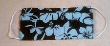 "Hawaiian Cotton Unisex Face Mask 7.5"" Washable Reversible Blue Hibiscus on Black"