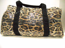 Duffle Bag Sequin Leopard Bling Women Gym Sport Travel Diaper Cheer Luggage