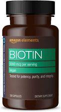 Amazon Elements Vegan Biotin 5000 mcg - Hair, Skin, Nails - 130 Capsules