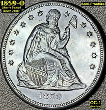 1859-O LIBERTY SEATED SILVER DOLLAR (OC-1) UNC. & SEMI-PROOFLIKE **EYE APPEAL**