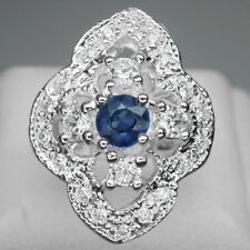 ATTRACTIVE! BLUE SAPPHIRE ROUND 5MM. & WHITE SAPPHIRE 925 SILVER RING SIZE 5.75
