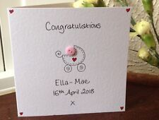 Personalised Handmade button Congratulations on birth of New Baby Girl card