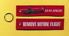 AH-64 Apache Remove Before Flight Embroidered Aviation keyring/fob/tag - New