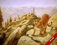ANGRY WILD CAT MT LION COUGAR ANIMAL PAINTING WILDERNESS ART REAL CANVAS PRINT