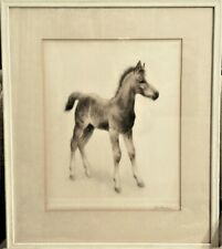 Framed Matted W/Glass Etching Of A Foal By Kurt Meyer Eberhardt Wall Hanging