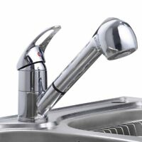 Pull Out Spray Chrome Kitchen Sink Faucet Single Handle Mixer Tap Swivel Spout