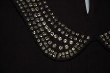 NEW Sz 8-10 Oasis Thick Chiffon Dress with Chiffon Sleeves Crystal Collar.