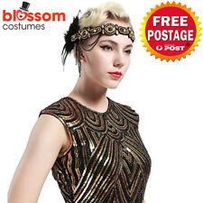 K507 Black Great Gatsby Headpiece Flapper 20s Costume Headband Headdress Feather