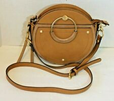 Aldo Womens Crossbody Purse Faux Brown Leather Round Handbag Adjustable Strap