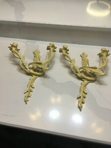 Vintage 2 Wall Sconces Double Candles Holder  Cast iron French Style -Art Nouvea