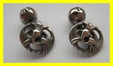 Inusual par C1880 Chino Plata Bata botones, diseño de Phoenix, gemelos?
