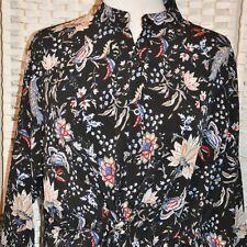 NWTS Black Floral BooHoo Paisley Shirt Dress Sz 10 XL Blue Red Drawstring Waist