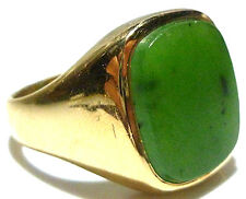 14K YELLOW GOLD JADE JADEITE SHIELD VINTAGE MENS SHIELD RING BY HAVEN SIZE 9.5