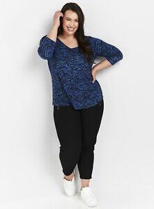 EX EVANS Ladies Womens Zebra Animal Print Long Sleeve Top Size 14 16 18 20 22 24