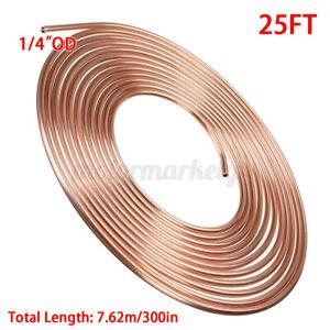 "Soft Copper Brake Pipe Line Fuel Hose Line Tubing 1/4"" 6.4mm x 25 feet Roll"