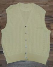 BEN HOGAN Golf Button Front Sweater Vest Mens XL 100% Pima Cotton Yellow NWOT